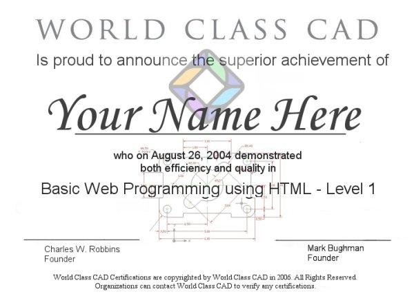 Web Certification Html Level 1